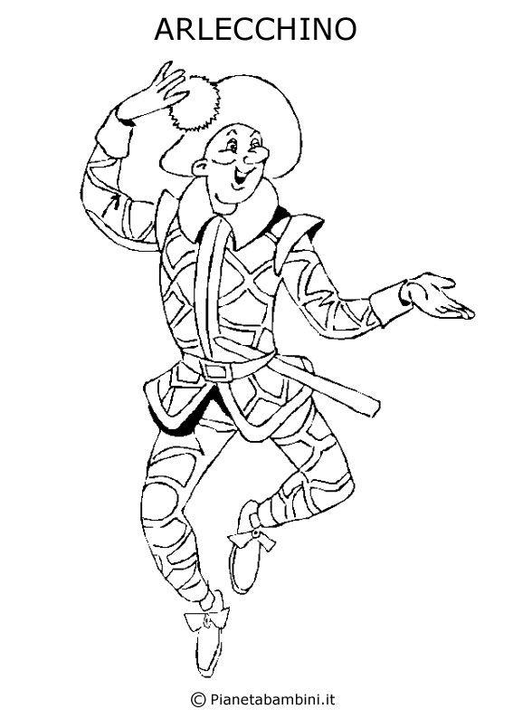 Disegno della maschera di Arlecchino da stampare e colorare