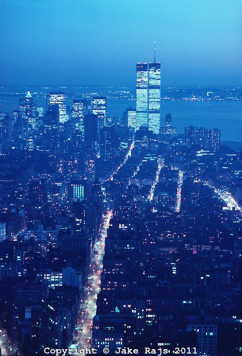 Manhattan Skyline Dusk, Hudson River Twin Towers of the World Trade Center, designed by Minoru Yamasaki, Manhattan, New York City, New York,...