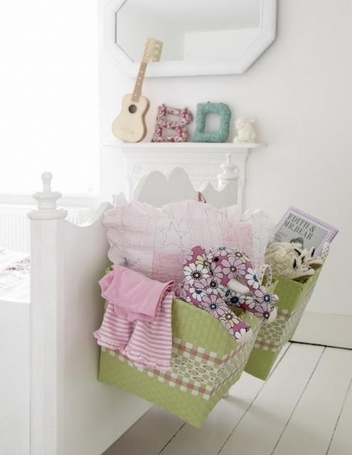 Pretty storage in a little girls room