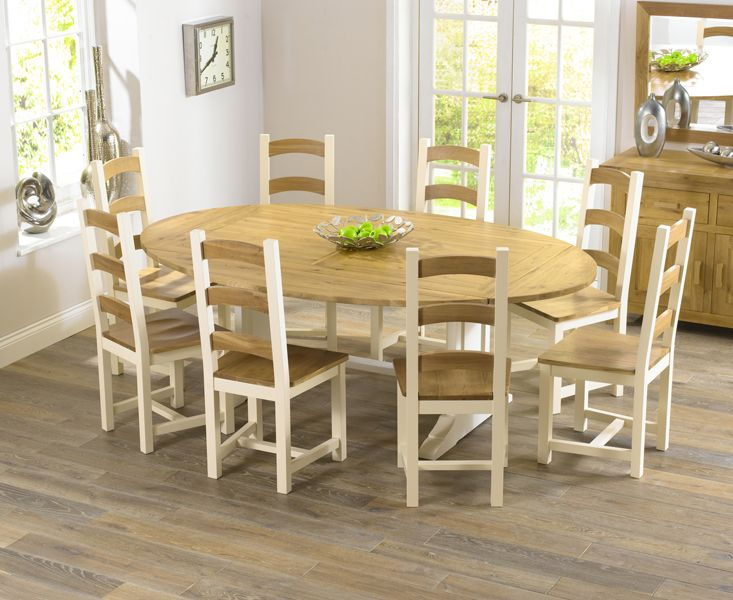 Cavendish Solid oak & cream all sides extending dining table with six Marlow oak & cream Chairs (£979)