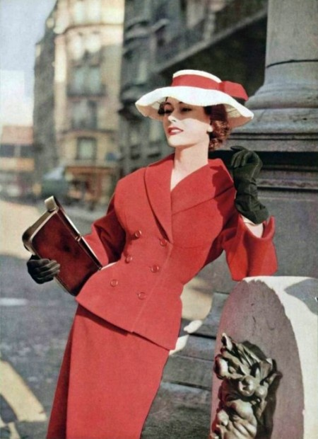 Anne Gunning in 1950s red Dior. Love the suit; ditch the hat.