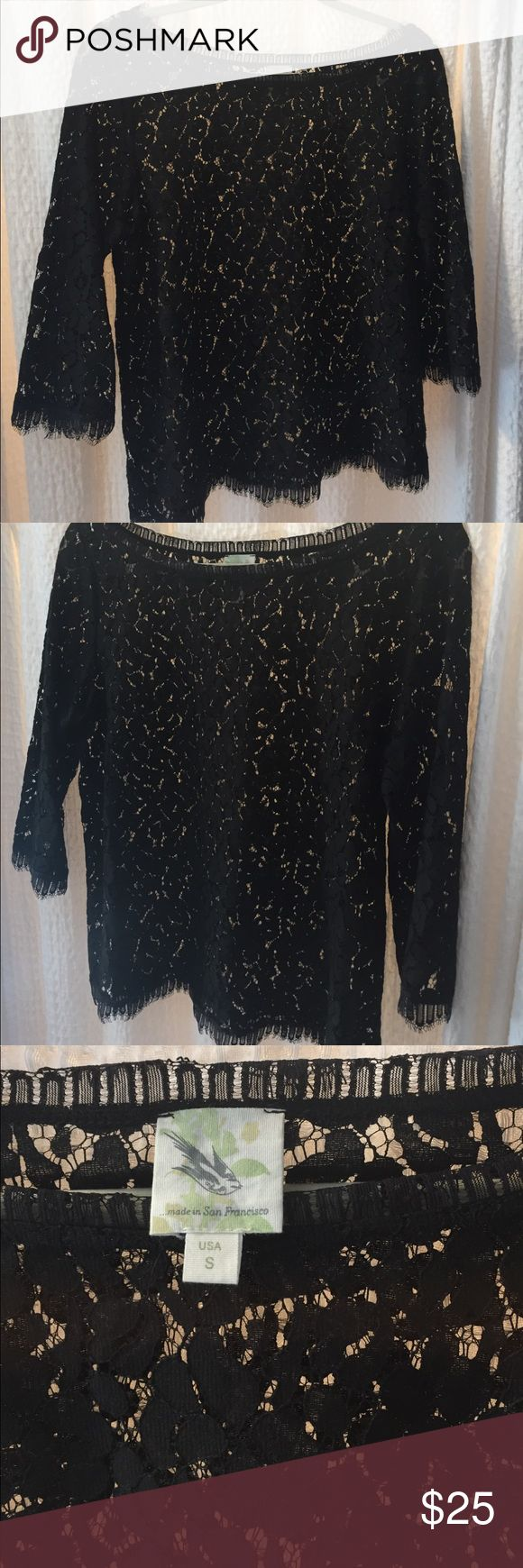 Made in Sam Francisco (Anthropologie) lace top Black lace boatneck top in soft fabric.  Sheer, elegant top with elbow sleeves.  Care label removed (it was visible through the top!). Excellent used condition. Anthropologie Tops Blouses