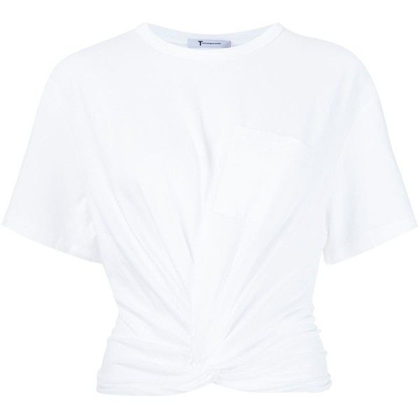 T By Alexander Wang Twist T-Shirt (210 SGD) ❤ liked on Polyvore featuring tops, t-shirts, shirts, tees, white, short sleeve tee, white cotton shirt, ruched t shirt, cotton t shirts and white t shirt