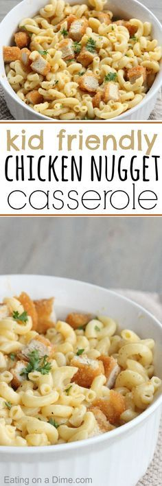 Chicken Nugget Casserole recipe.  We are combining the kids' favorite, chicken nuggets with the cheesy macaroni and cheese. The results… amazing! It was the perfect kid friendly dinner and I'm not going to lie… the teenager and the adults loved it too.