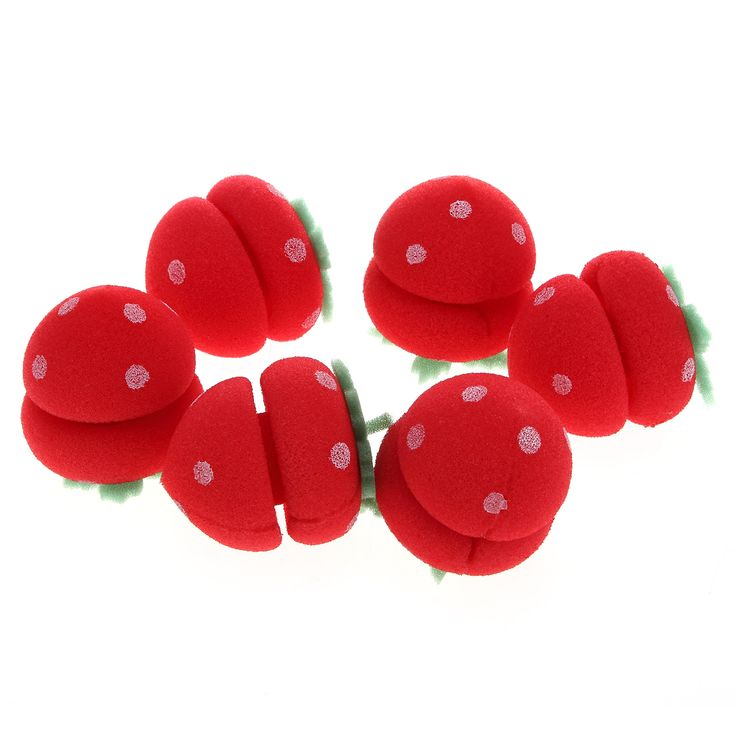 6pcs Cute Magic Strawberry Foam Balls Beauty Soft Sponge Hair Curlers Rollers Bun Round DIY Hair Curling Enhancer Care Tools