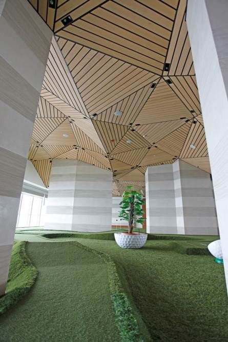 Project: Saphire. Architect: Kreatif Mimarlik. Product: Hunter Douglas Solid Wood Ceiling.  #architecture #ceilings #  Kreatif Mimarlik. #hunter douglas