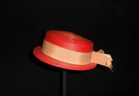Ladies Brimmed Straw Dress Hat-Orange-Vintage Dress Hat-Woven-Grosgrain Ribbon-Sun-Church-Vintage Fashion-Style-Orphaned Treasure-070517Q by OrphanedTreasure on Etsy