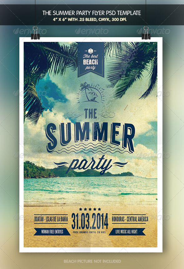 The Summer Party | Flyer Tempalte #design Download: http://graphicriver.net/item/the-summer-party-flyer-template/7799166?ref=ksioks