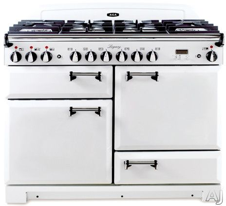 """AGA ALEBS44DFVWT 44"""" Pro-Style Dual Fuel Range with 2.4 cu. ft. Convection Oven, 2.2 cu. ft. 7-Mode Multifunction Oven, Broiling Oven, Manual Clean and Storage Drawer: Vintage White"""
