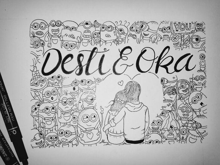 Minion doodle sweet couple