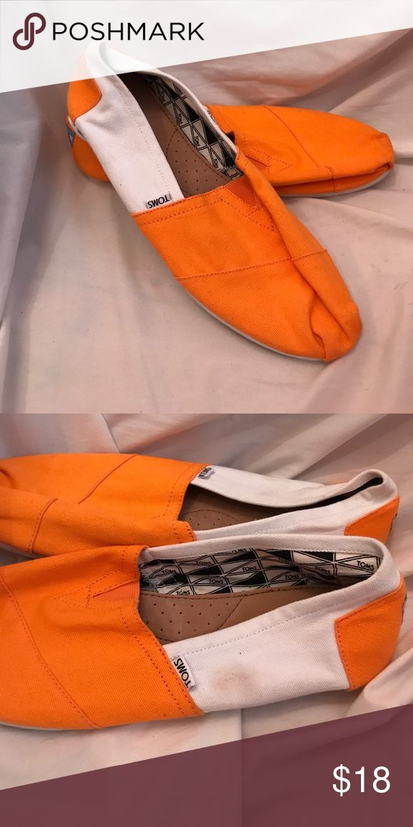 Men's orange and white Toms Classic Worn once like new, mark on left side of left shoe Toms Shoes Loafers & Slip-Ons