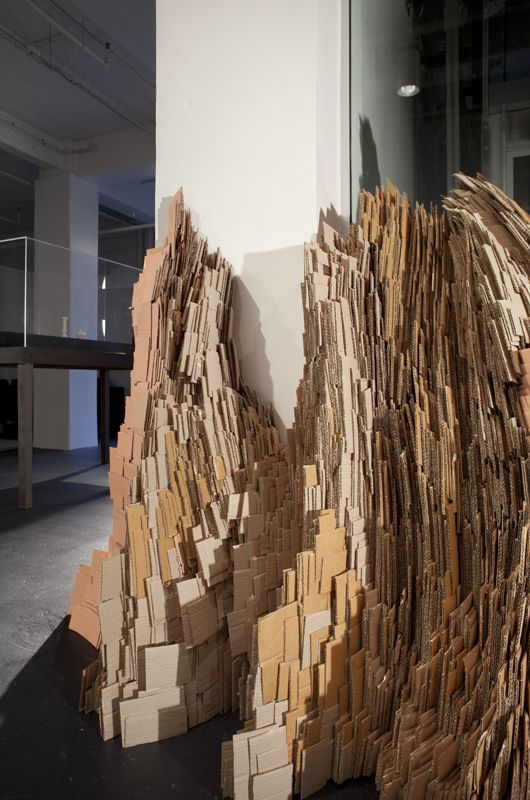 Ruth Thomas-Edmond  Sugared Heap 2012   cardboard, PVA glue, acrylic paint  Dimensions variable. Courtesy of the artist. Image Kate Whitley
