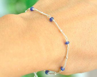 Zaffiro blu perline braccialetto bracciale di ShopClementine