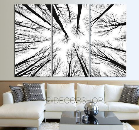 Large Wall Art Canvas Prints - Dry Tree Branches Wall Art - Forest ...
