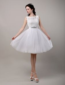 A-Line/Princess  Knee-Length Lace Bodice Tulle Wedding Dress With Beading Sequins Sash