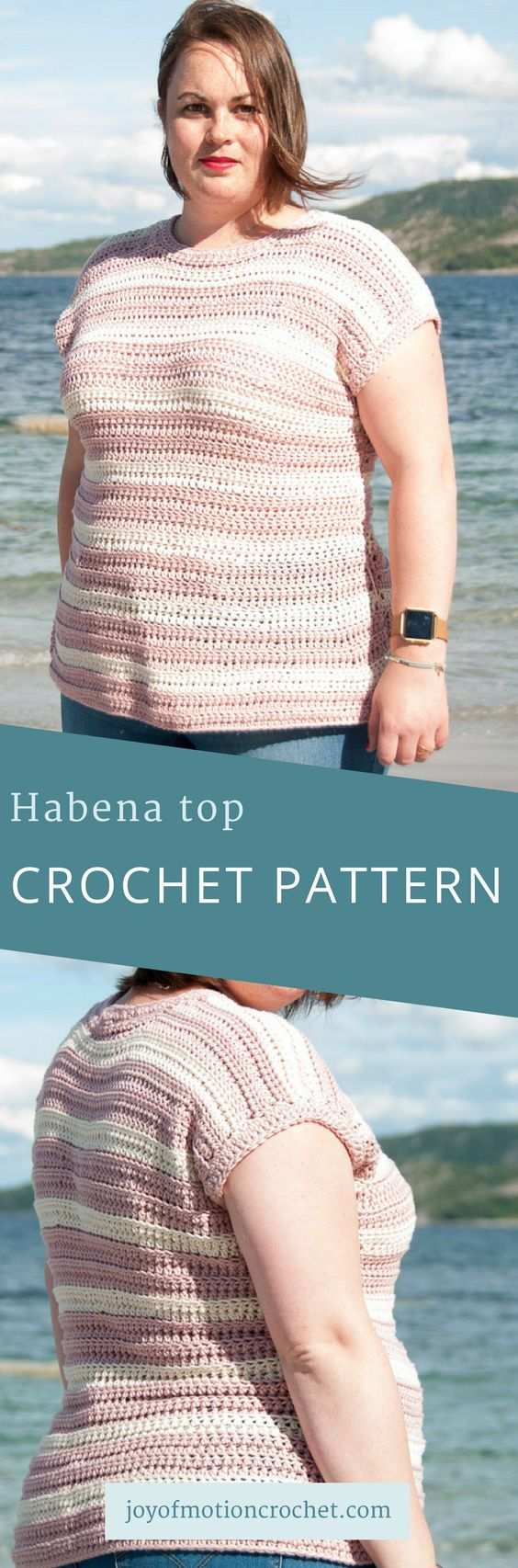 Habena top crochet pattern. T-shirt crochet pattern. Quick crochet pattern. Summer crochet pattern. Woman's top crochet pattern. #topcrochetpattern #crochettop #woolandthegang #crochetpattern #tshirtcrochetpattern