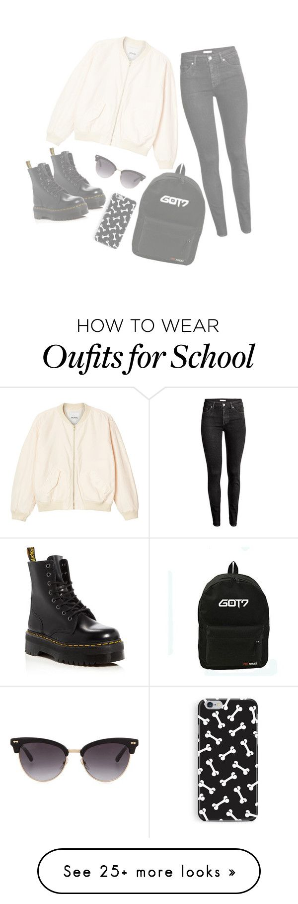 """first day at school"" by bbyugyeom on Polyvore featuring Monki, H&M, Dr. Martens and Gucci"