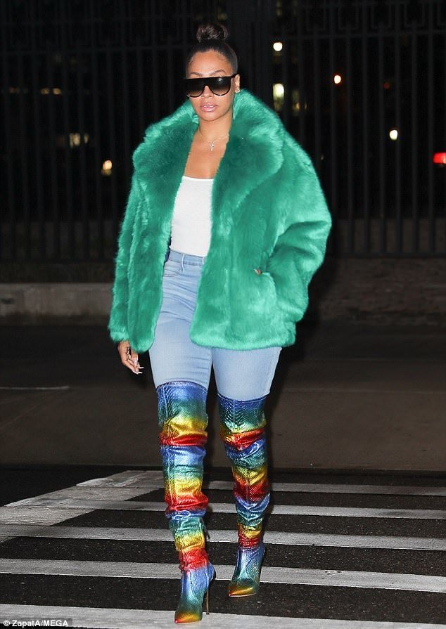 Bringing some color: La La Anthony rocked a bright outfit on Tuesday as she stepped out in...