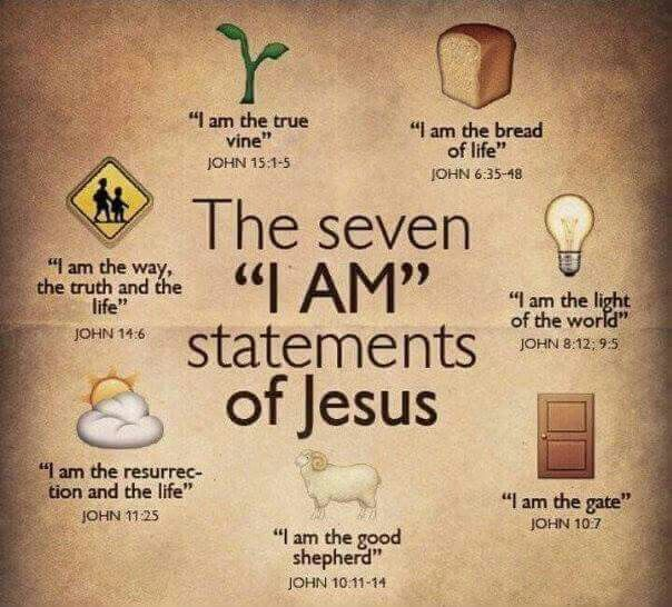 Yeshua said, I am the light of the world; the bread of life; the true vine; the…