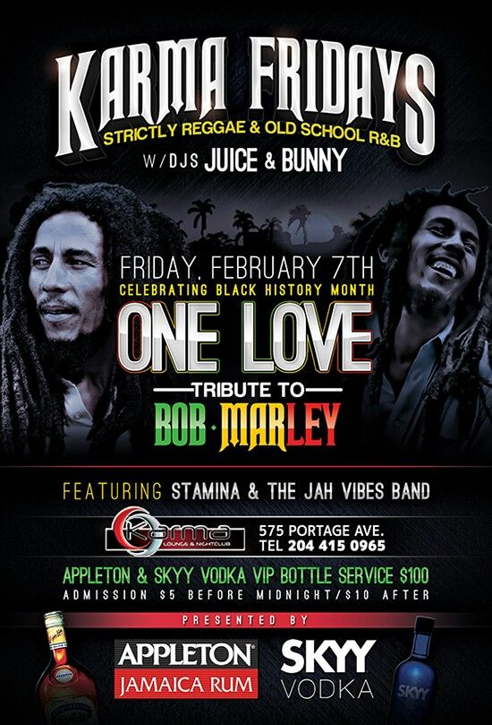 Karma Friday's presents #1Love - a Tribute to the Honourable Robert Nesta Marley featuring Stamina Sound & Jah Vibes Band!!!