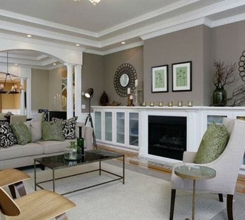 benjamin moore STORM - paint color.  Love the shelves for basement wall