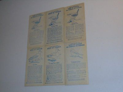 Stamp Pickers Birds of Canada 1950's Nabisco Shredded Wheat Cards x 6