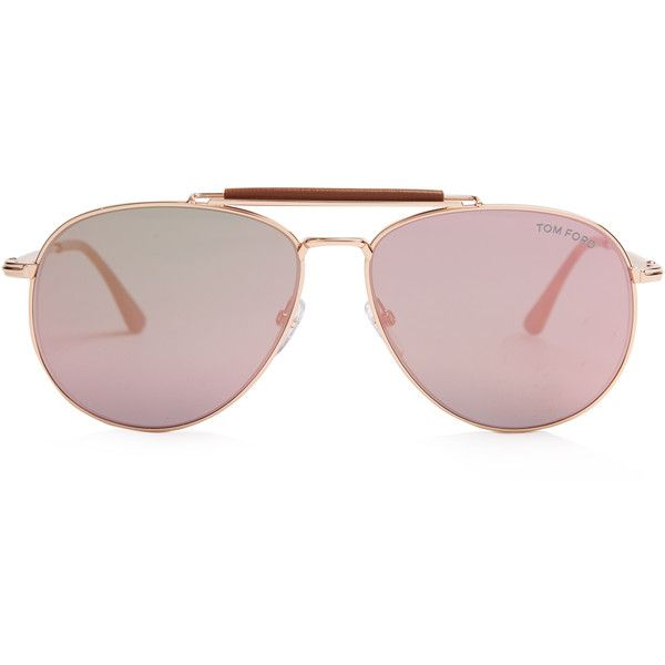 Tom Ford Sunglasses Sean mirrored aviator sunglasses (€340) ❤ liked on Polyvore featuring accessories, eyewear, sunglasses, rose gold, aviator sunglasses, tortoise shell sunglasses, tortoise shell aviator sunglasses, mirrored aviator sunglasses and metal frame sunglasses