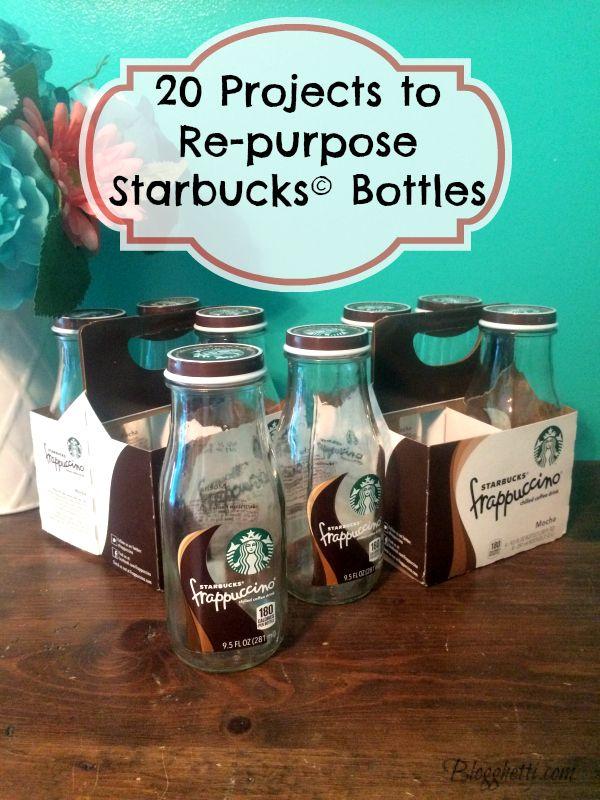 20 Projects to Re-purpose Starbucks Bottles (Starbucks Glass Bottle)
