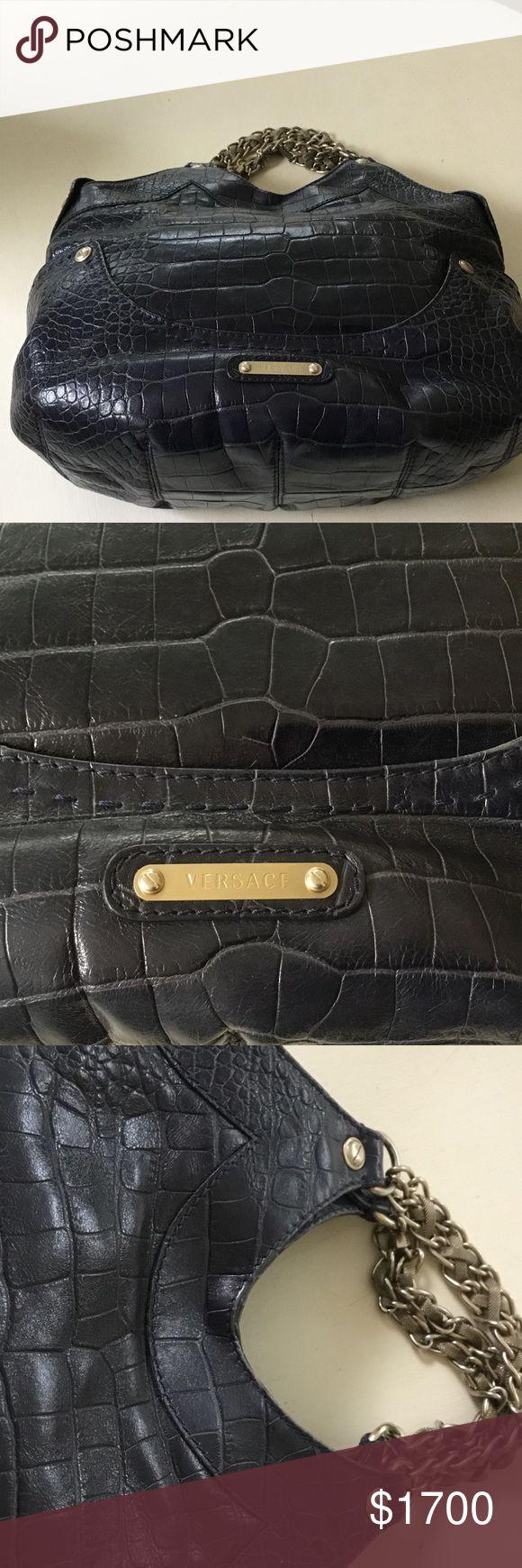 Versace Designer Handbag Navy Crocodile Silver Versace Designer Handbag, with original tags, Made in Italy.  Navy crocodile embossed body with a shoulder strap and silver mesh handles.  Original dust cover bag with Versace label.  Nordstrom designer handbags purchased. Versace Bags Satchels