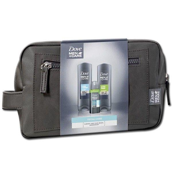"Dove MEN Geschenkset ""Clean Comfort"" - Toilettas + 2 x Showergel 250ml + Deodorant Spray 75ml Compressed 8710908221446"