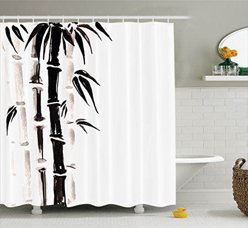 Bathroom Rugs Ideas | Bamboo House Decor Shower Curtain Set by Ambesonne Bamboo Pattern in Traditional Chinese Watercolor Painting Style Asian Art Print Bathroom Accessories 84 Inches Extralong Black Cream *** Read more reviews of the product by visiting the link on the image. Note:It is Affiliate Link to Amazon.