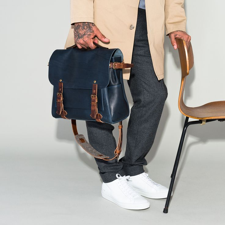 Bleu de Chauffe, Sac Postier Eclair - Leather messenger bag Eclair. Men's bag. Leather laptop bag.