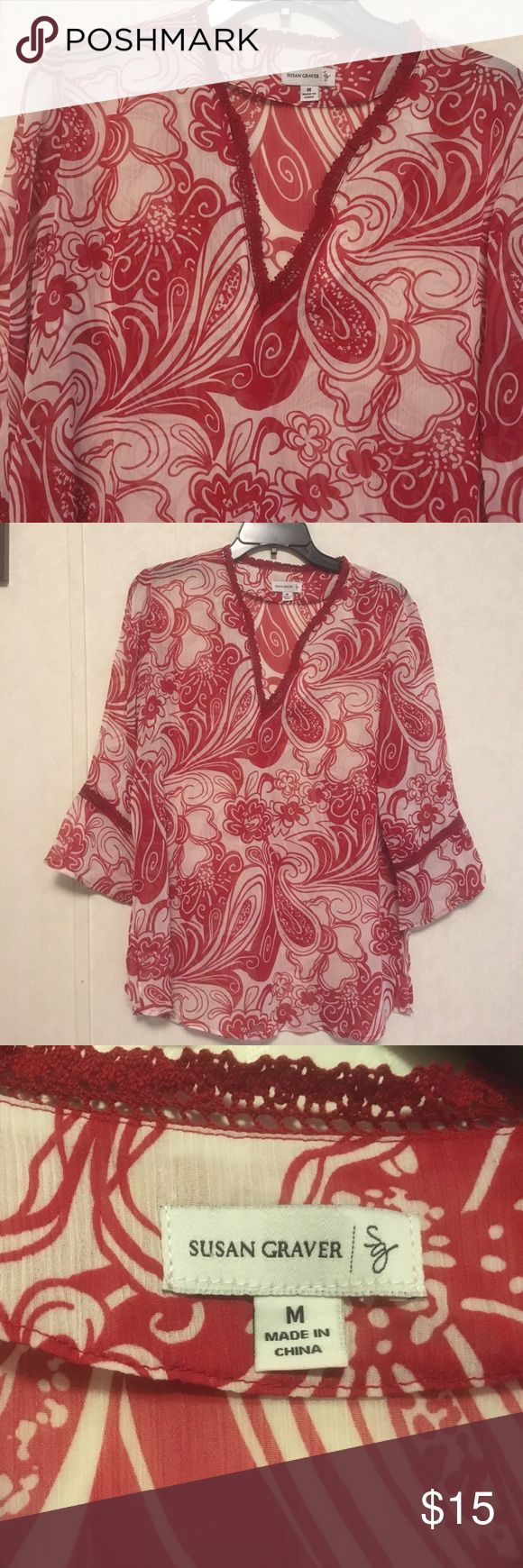 Susan Graver Ladies Top Sheer Top with bell sleeves. Never worn. Like new condition Susan Graver Tops Tunics