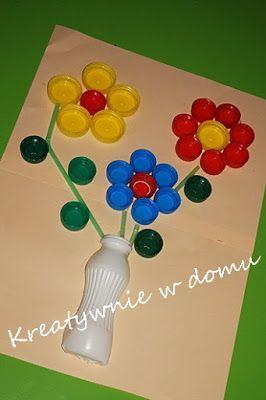 laurki dla babci z użyciem nakrętek plastikowych