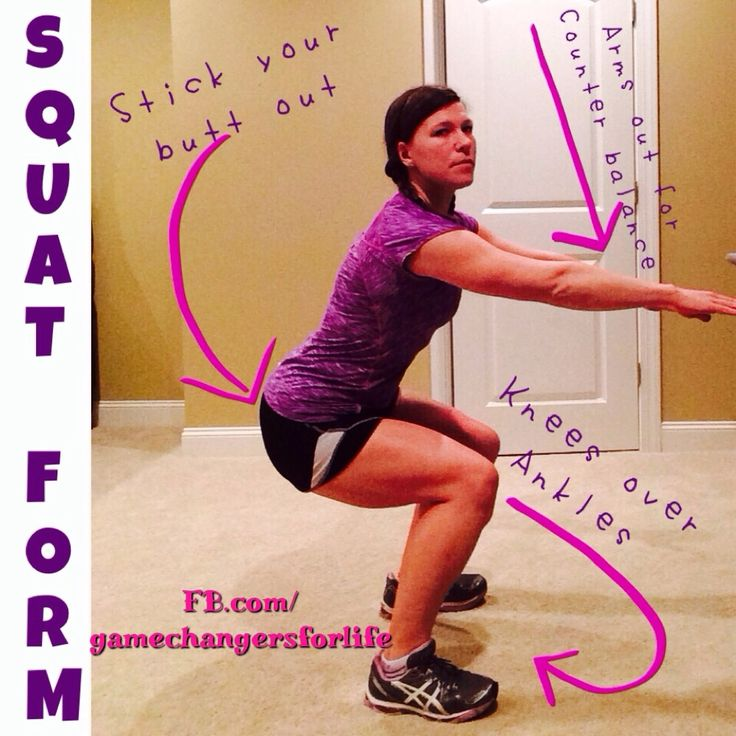 Perfect Squat Form: squats are EXCELLENT for your bootie, quads, and hamstrings...BUT lots of people do them wrong and end up with hurt knees...no good! Tips: knees over ankles, stick your bootie out, and use your arms for counter balance! I could have smiled a little more, but I was FOCUSED...lol! #squat #workout #fitness #inspiration