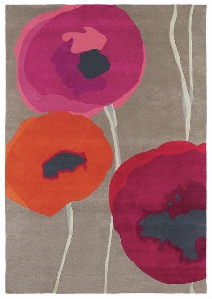 Sanderson Poppies Red Orange 45700 Beautiful Handmade Designer Wool Rug