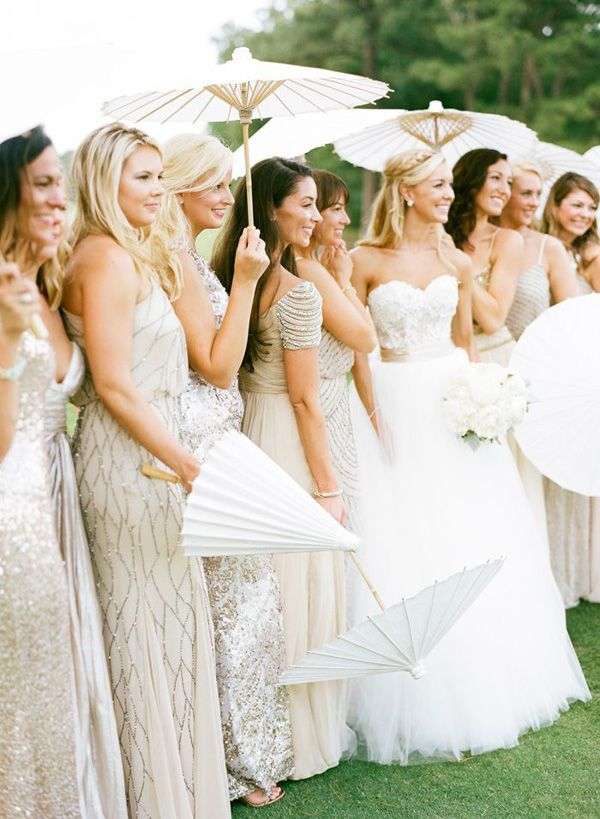 vintage wedding ideas - sparkly glittery bridesmaids gowns