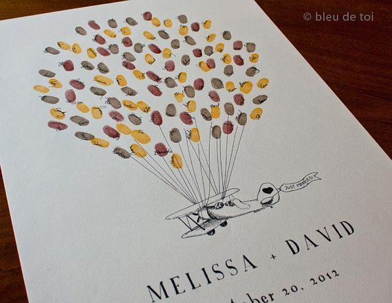 Vintage Prop Plane with Balloons, The original guest book thumbprint balloon art (inks available separately)