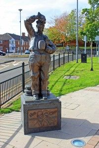 The Stan Laurel Statue in Bishop Auckland. Stan was born in Cumbria but returned to Bishop Auckland with his parents who managed the Eden Theatre there. He was baptised in St. Peter's Church, Bishop Auckland and went to King James Grammar School there.