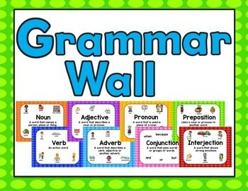 8 parts of speech posters with pictures for an easy to make grammar wall
