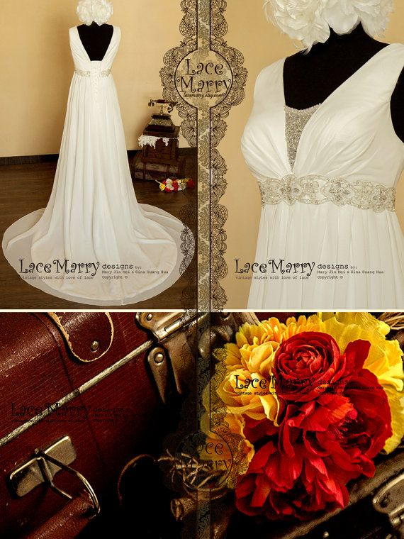 Stunning Empire Style Chiffon Wedding Dress with Delicate Bead Work on on the Waist and Neckline on Etsy, $214.00