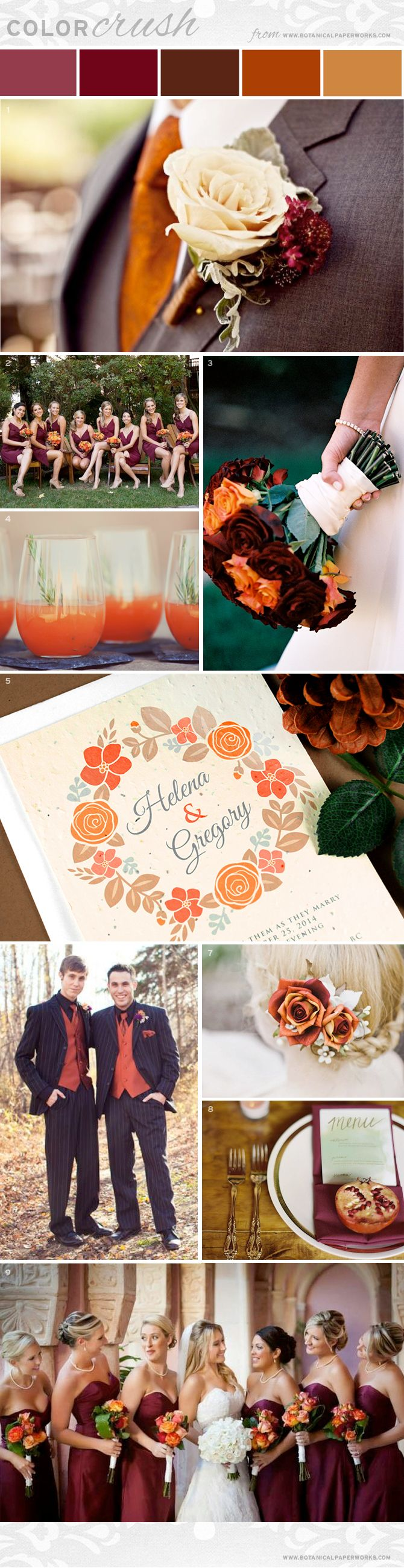 Check out this stunning wedding palette potential - Burnt Orange & Burgundy! The fall inspired hues are full of character and create a warm and inviting mood for guests.