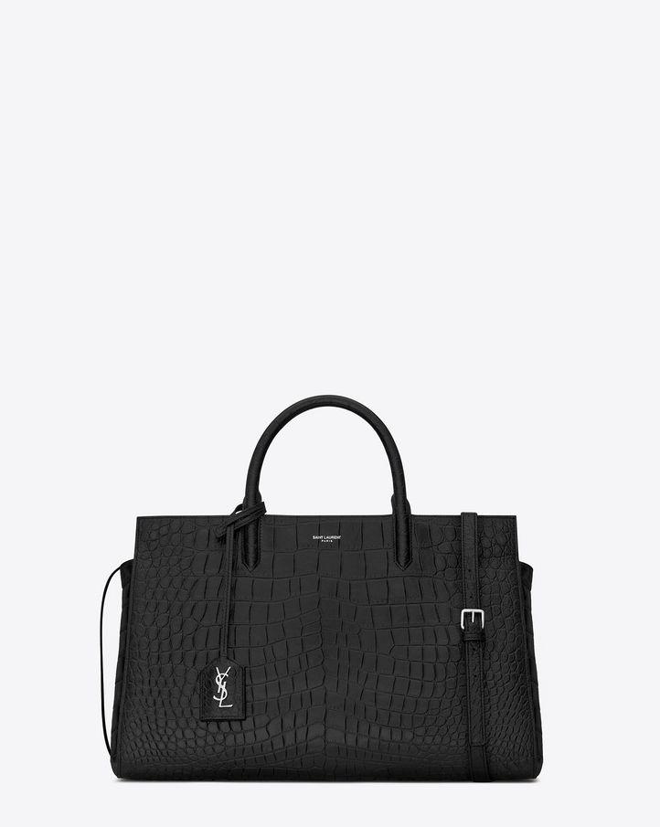 Saint Laurent, Medium Cabas Rive Gauche Bag in Black Crocodile Embossed Leather