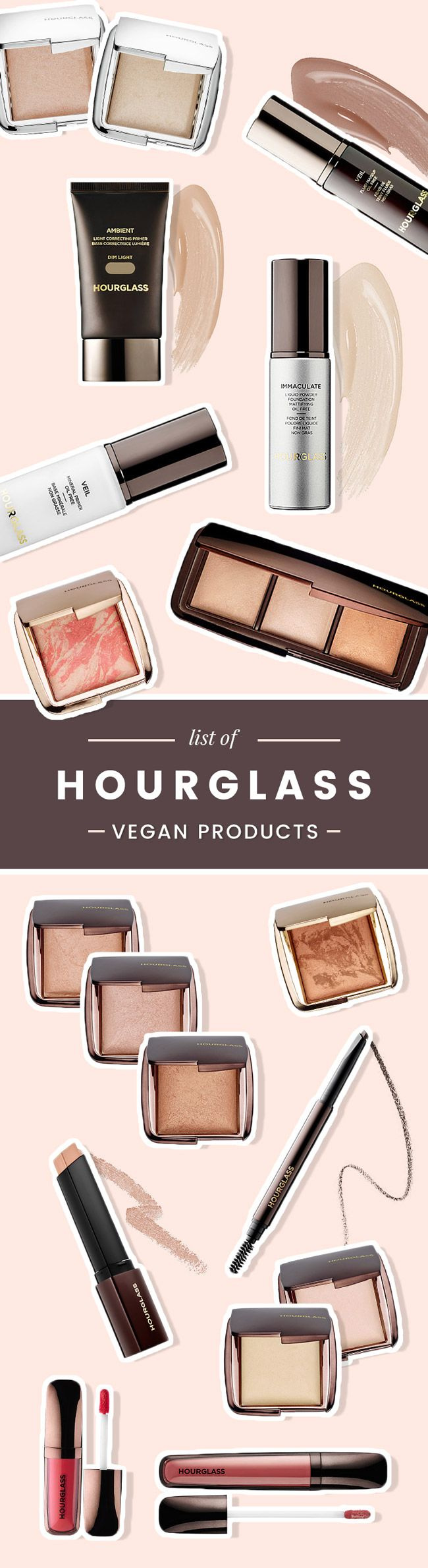 A complete list of all Hourglass makeup products and brushes that are considered vegan; does not contain any animal-derived ingredients or by-products.