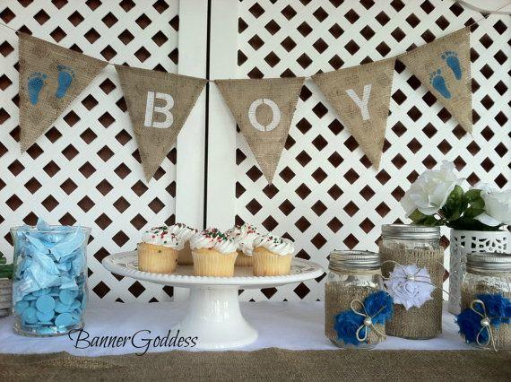Baby Boy Burlap Banner  Baby Shower Decor  Boy by BannerGoddess, $15.00