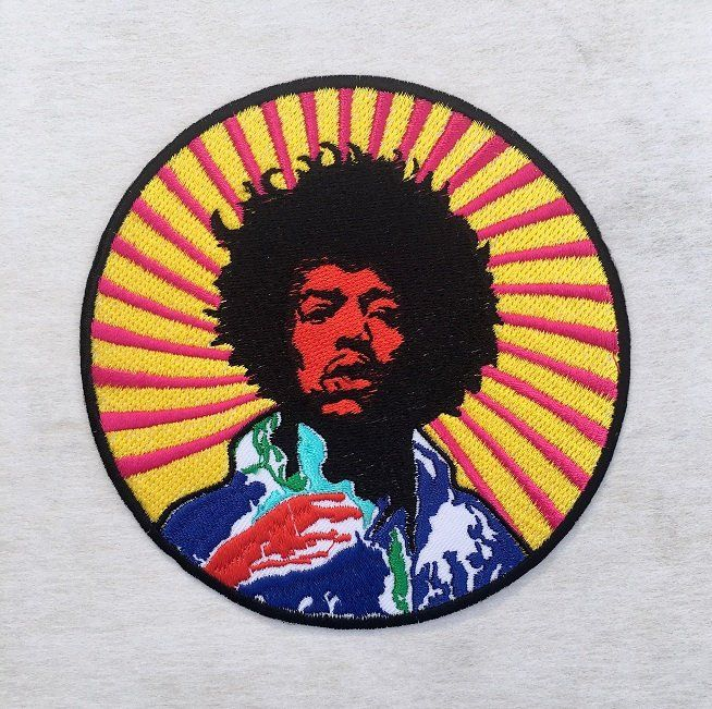 JIMI HENDRIX  ROCK BAND LOGO RED IRON ON EMBROIDERED PATCH
