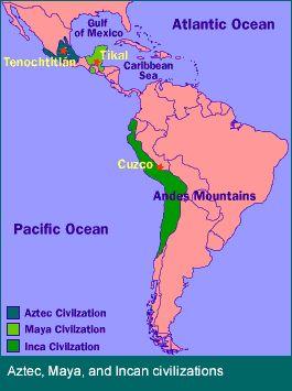 una mapa de Aztec, Maya y Inca civilización.