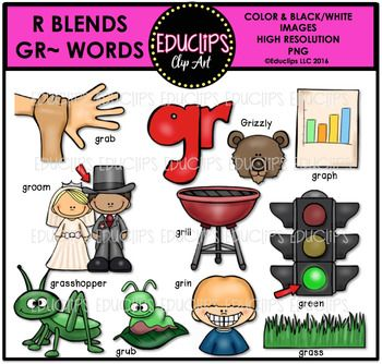 This is a set of words containing the blend: GR 11 images in color and the same 11 images in B&W.  The images in this set are: grab, grizzly, graph, groom, grill, green, grasshopper, grub, grin  Please note: the words included on the product cover are not included in the download.