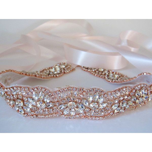 Rose Gold Crystal Rhinestone Bridal Sash,Wedding sash,Bridal... ($39) ❤ liked on Polyvore featuring accessories, belts, reversible belt, beaded sash belt, rhinestone bridal belt, ribbon belt and rose gold belt