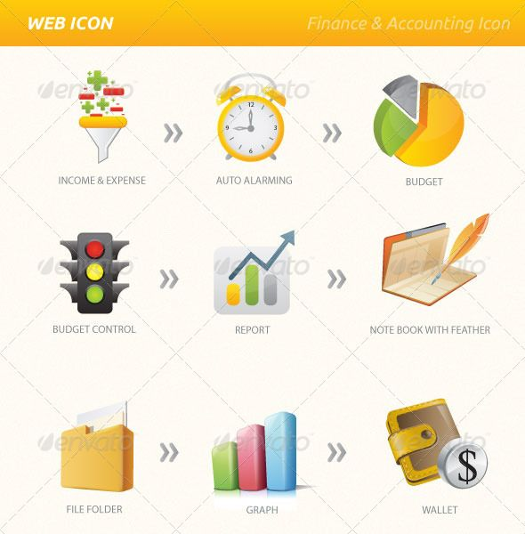 Finance Accounting Vector & PNG Icon Set — Photoshop PSD #diary #3d icon • Available here → https://graphicriver.net/item/finance-accounting-vector-png-icon-set/3428315?ref=pxcr